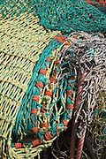 Fishing nets. Small fishing and sailing hamlet of Felixstowe Ferry at the mouth of the River Deben, Suffolk, England