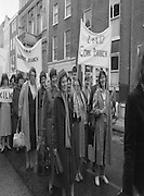 Irish Nurses Organisation Protest..28.05.1986..05.28.1986..28th May 1986..In protest against proposed health cuts the Irish Nurses Organisation organised a protest march to Dail Eireann. Nurses from all over Ireland were represented at the march...Image shows nurses from Cork and Bantry leading the protest march to Leinster House.