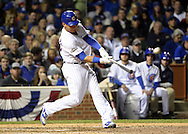 CHICAGO, IL - OCTOBER 22: Willson Contreras #40 of the Chicago Cubs hits a solo home run in the fourth inning during Game 6 of the NLCS against the Los Angeles Dodgers at Wrigley Field on Saturday, October 22, 2016 in Chicago, Illinois. (Photo by Ron Vesely/MLB Photos via Getty Images)   *** Local Caption *** Willson Contreras