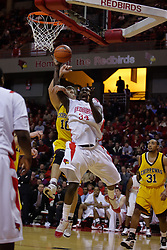 05 December 2009: Tony Lewis gets hammered by Marko Spica from behind while shooting. The Chippewas of Central Michigan are defeated by the Redbirds of Illinois State 75-62 on Doug Collins Court inside Redbird Arena in Normal Illinois.