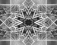 A Symmetrical Kaleidoscopic Patterned Background In Black And White, Abstract Digital Art