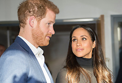 Prince Harry and Meghan Markle during a visit to the Nottingham Academy in Nottingham, on their first official engagement together.