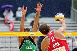 12.07.2014, Beach Village, Gstaad, SUI, FIVB Beach Volleyball Grand Slam Gstaad, im Bild Ryan Doherty (USA) gegen Philip Dalhauser (USA) // during the FIVB Beach Volleyball Grand Slam Gstaad at the Beach Village in Gstaad, Switzerland on 2014/07/12. EXPA Pictures © 2014, PhotoCredit: EXPA/ Freshfocus/ Claude Diderich<br /> <br /> *****ATTENTION - for AUT, SLO, CRO, SRB, BIH, MAZ only*****