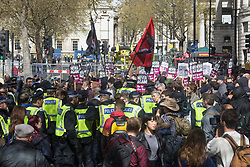 London, April 1st 2017. Anti-fascists counter-demonstrate as protesters from nationalist and anti-Islamic group Britain First demonstrate in London following the Westminster terror attack of March 22nd.
