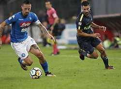 October 21, 2017 - Naples, Campania/Napoli, Italy - Italy- Naples October 21, 2017 A-Serie A football match at the San Paolo Stadium between Naples and Inter..That night they met the first two teams of high class Napoli who is in first place and Inter at second..Already the soccer experts speak of scudetto racing in Italy.Naples..Naples:Hamsik.Inter:Gagliardini (Credit Image: © Fabio Sasso/Pacific Press via ZUMA Wire)