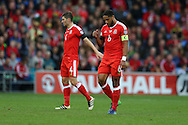 Ashley Williams , the Wales captain ® and Ben Davies of Wales (l) look dejected. Wales v Georgia , FIFA World Cup qualifier, European group D match at the Cardiff city Stadium in Cardiff on Sunday 9th October 2016. pic by Andrew Orchard, Andrew Orchard sports photography