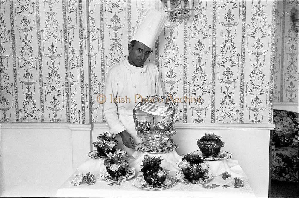 29/06/1967<br /> 06/29/1967<br /> 29 June 1967<br /> Mr. Pierre Rolland and Sugar Basket display at the Russel Hotel, Dublin. Images for the Royal Hibernian Hotel. Rolland was Michelin starred head chef of The Russell Hotel.