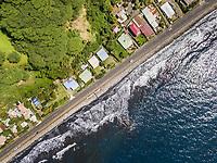 Aerial view of Tahiti coastline in French Polynesia.