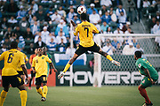 Jamaica midfielder Jason Morrison catches some air for a header against Grenada during the second half of a CONCACAF Gold Cup soccer match on Monday, June 6, 2011 in Carson, Calif. Jamaica won 4-0. (AP Photo/Bret Hartman)