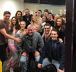 "Russell Brand releases a photo on Twitter with the following caption: """"With the incredible cast of Dirty Dancing - they were amazing and so beautiful. #nooneputsrustyinthecorner"""". Photo Credit: Twitter *** No USA Distribution *** For Editorial Use Only *** Not to be Published in Books or Photo Books ***  Please note: Fees charged by the agency are for the agency's services only, and do not, nor are they intended to, convey to the user any ownership of Copyright or License in the material. The agency does not claim any ownership including but not limited to Copyright or License in the attached material. By publishing this material you expressly agree to indemnify and to hold the agency and its directors, shareholders and employees harmless from any loss, claims, damages, demands, expenses (including legal fees), or any causes of action or allegation against the agency arising out of or connected in any way with publication of the material."