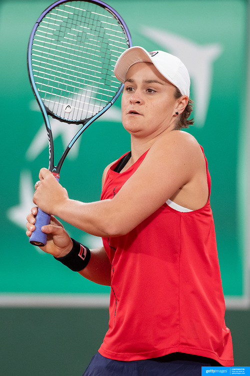 PARIS, FRANCE May 24.  World number one Ashleigh Bartyof Australia practicing on Court Philippe-Chatrier during the first day of the qualifying tournament at the 2021 French Open Tennis Tournament at Roland Garros on May 24th 2021 in Paris, France. (Photo by Tim Clayton/Corbis via Getty Images)