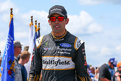 July 29, 2018 - Long Pond, PA, U.S. - LONG POND, PA - JULY 28:   Monster Energy NASCAR Cup Series driver Aric Almirola Smithfield Ford (10) during driver introductions prior to the Monster Energy NASCAR Cup Series - 45th Annual Gander Outdoors 400 on July 29, 2018 at Pocono Raceway in Long Pond, PA. (Photo by Rich Graessle/Icon Sportswire) (Credit Image: © Rich Graessle/Icon SMI via ZUMA Press)