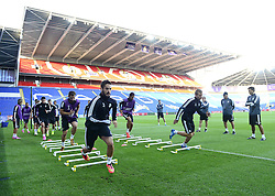 Real Madrid players train at the Cardiff City stadium - Photo mandatory by-line: Joe Meredith/JMP - Mobile: 07966 386802 11/08/2014 - SPORT - FOOTBALL - Cardiff - Cardiff City Stadium - Real Madrid v Sevilla - UEFA Super Cup - Press Conference and Open Training session