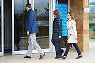 King Felipe VI of Spain, Queen Letizia of Spain, Queen Sofia of Spain visited King Juan Carlos of Spain after his knee surgery at La Moraleja Hospital on April 7, 2018 in Madrid, Spain