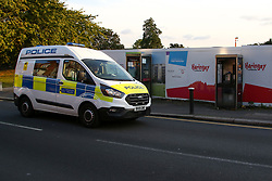 © Licensed to London News Pictures. 23/09/2021. London, UK. A police van on West Green Road in Haringey, north London as police launch a murder investigation. At around 22:00hrs on Tuesday, 21 September, police were called to a property on West Green Road and found a 36-year-old man with multiple injuries. He later died. A 42-year-old man from the Finsbury Park area was arrested on Thursday, 23 September, on suspicion of murder. Photo credit: Dinendra Haria/LNP