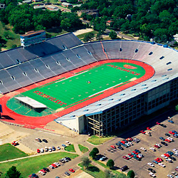 Aerial photograph of the David Booth Memorial Stadium University of Kansas , Jayhawks stadium