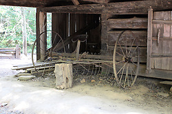 08 October 2016:   Great Smokey Mountains National Park. Vintage Hay Rake at Cades Cove Historic Area Visitors Center in Blount County Tennessee.  Cades Cove is within the Great Smoky Mountains National Park