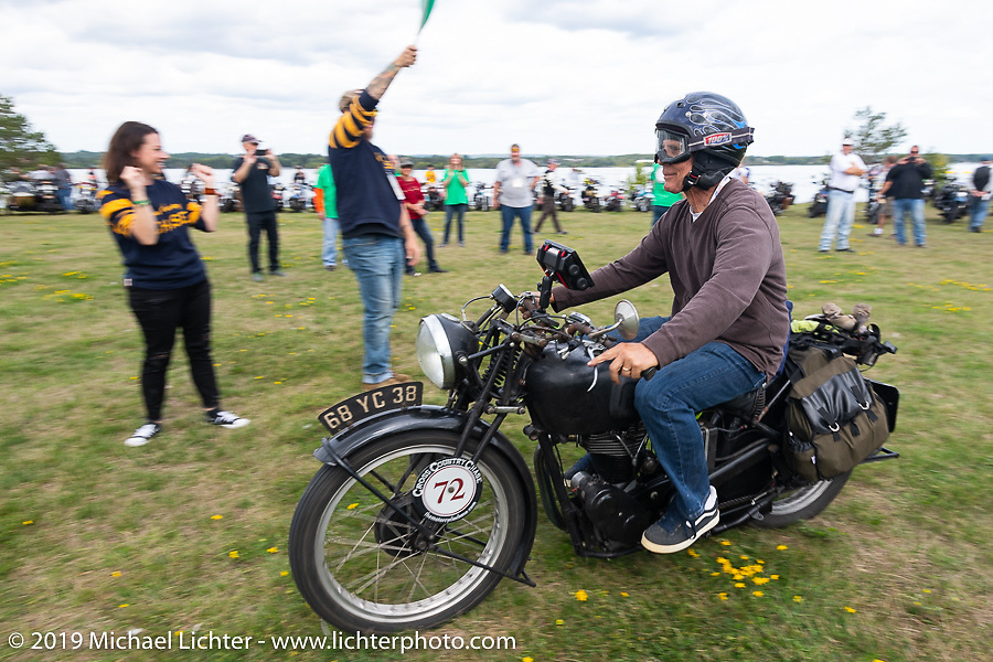 Larry Luce riding his 1938 Velocette KSS off the line from Aune Osborne Park in Sault Sainte Marie, the site of the official start of the Cross Country Chase motorcycle endurance run from Sault Sainte Marie, MI to Key West, FL. (for vintage bikes from 1930-1948). Thursday, September 5, 2019. Photography ©2019 Michael Lichter.