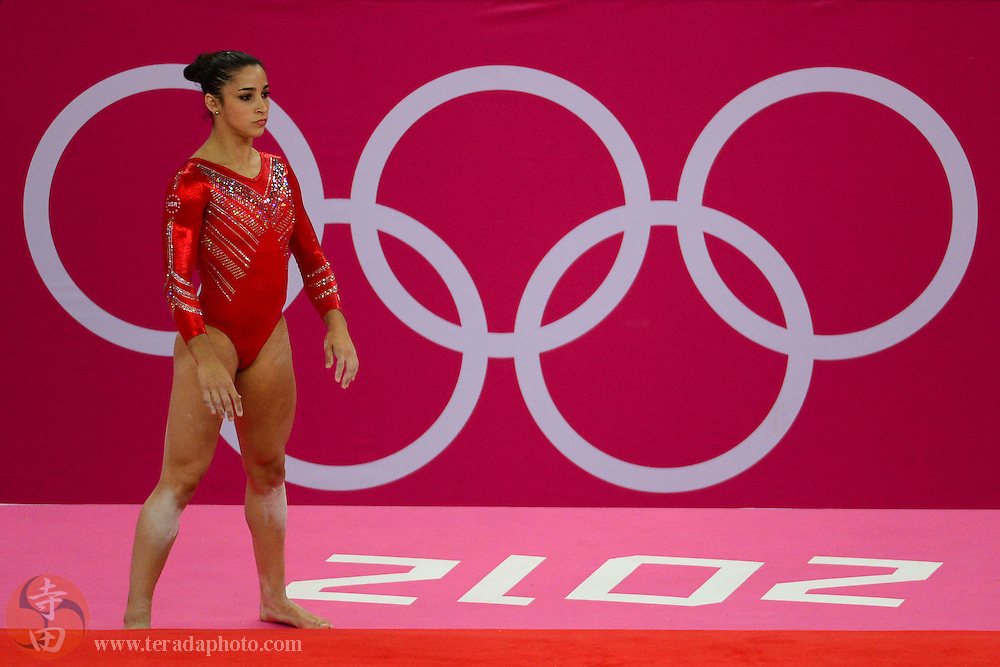 Jul 31, 2012; London, United Kingdom; Alexandra Raisman (USA) prepares to perform her routine in the floor exercise during the London 2012 Olympic Games at North Greenwich Arena.