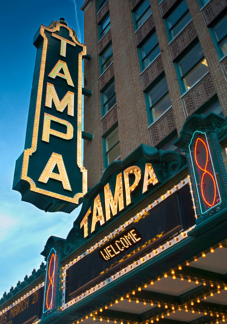 Florida, Tampa, Tampa Theater, Illuminated Marquee, Built In 1926, Art Deco, National Register Of Historic Places