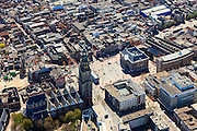Nederland, Groningen, Groningen, 01-05-2013;<br /> Groningen-stad, centrum. Grote Markt, Martinitoren. Stadhuis centraal op de markt.<br /> Center of the city of Groningen, old town. Martinitoren (church) and the City hall.<br /> luchtfoto (toeslag op standard tarieven)<br /> aerial photo (additional fee required)<br /> copyright foto/photo Siebe Swart