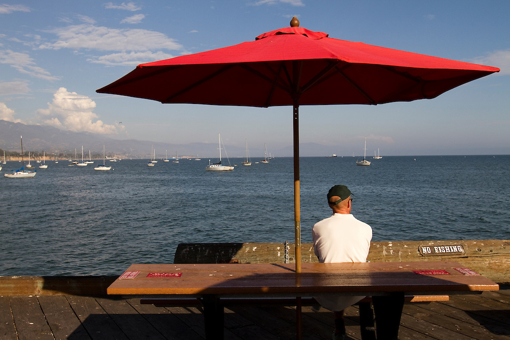 The wharf in Santa Barbara, California offers fishing, shopping, dining and close encounters with Pelicans.