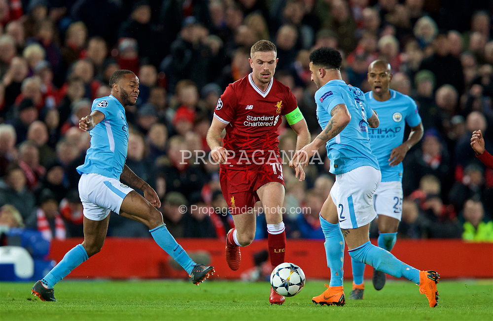 LIVERPOOL, ENGLAND - Wednesday, April 4, 2018: Liverpool's captain Jordan Henderson during the UEFA Champions League Quarter-Final 1st Leg match between Liverpool FC and Manchester City FC at Anfield. (Pic by David Rawcliffe/Propaganda)