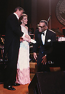 President and First Lady Nancy Reagan thank Ray Charles at a Inaugural Ball in January 1981...Photograph by Dennis Brack bB22