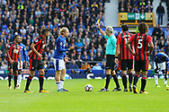 Tom Davies of Everton receives a yellow card from referee Martin Atkinson. Premier league match, Everton vs Bournemouth at Goodison Park in Liverpool, Merseyside on Saturday 23rd September 2017.<br /> pic by Chris Stading, Andrew Orchard sports photography.