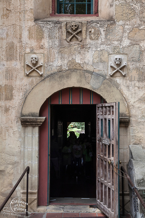 Skulls over doorway to chapel, Mission Santa Barbara, Santa Barbara, California, USA