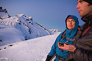 Climbers Grace Marx and Obadiah Reid have some navigation difficulties during a traverse of a high ridge above Terror Basin, North Cascades National Park, Washington.