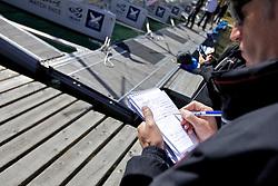 Rupert Holmes, journalist, makes notes on the dock. St Moritz Match Race 2010. World Match Racing Tour. St Moritz, Switzerland. 3rd September 2010. Photo: Ian Roman/WMRT.
