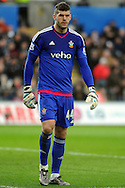 Southampton goalkeeper Fraser Forster in action. Barclays Premier league match, Swansea city v Southampton at the Liberty Stadium in Swansea, South Wales on Saturday 13th February 2016.<br /> pic by  Carl Robertson, Andrew Orchard sports photography.
