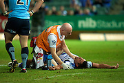 Cameron Shepherd is treated after a nasty tackle. Super 15 Rugby Match - Western Force v HSBC Waratahs. Perth, Western Australia, nib Stadium. Saturday 9th April 2011. Photo: Daniel Carson PHOTOSPORT