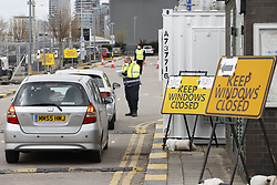 © Licensed to London News Pictures. 01/04/2020. London, UK. A new coronavirus testing centre has opened in the car park of the O2 Arena on the Greenwich Peninsula in London. Death rates from the spread of coronavirus continue to climb. Photo credit: Peter Macdiarmid/LNP