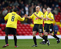 Photo: Scott Heavey.<br />Watford v Sunderland. Nationwide Division One. 07/02/2004.<br />Gavin Mahon (C) celebrates his goal with Mcah Hyde