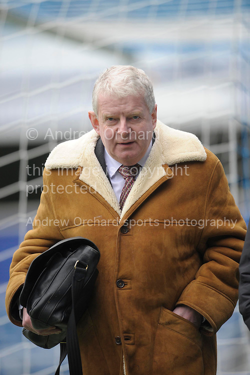 John Motson approaching the commentary box before k/o. Barclays Premier league match, Queens Park Rangers v Southampton at Loftus Road in London on Saturday 7th Feb 2015. pic by John Patrick Fletcher, Andrew Orchard sports photography.