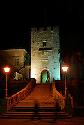 Revelin Tower and the land gate (Kopnena Vrata) entrance into the old town of Korcula, at night. Korcula old town, island of Korcula, Croatia.