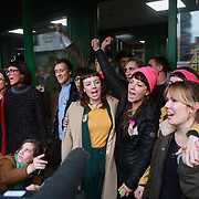 The Stansted 15 after sentencing at Chelmsford Crown court, 6th of February 2019, Chelmsford, United Kingdom. The group of fifteen activists stopped a Home Office deportation charter flight in Stansted in 2017. The activists were charged under the terrorism law and 12 were sentenced community service and 3 were sentenced suspended 9 months prison sentences.