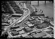 Ackroyd 02429-6  Highway overpass construction on Interstate near east end of Broadway Bridge.September 20, 1950