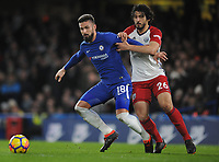 Football - 2017 / 2018 Premier League - Chelsea vs. West Bromwich Albion<br /> <br /> Olivier Giroud of Chelsea holds off Ahmed Hegazi of WBA to set up Eden Hazard's goal, at Stamford Bridge.<br /> <br /> COLORSPORT/ANDREW COWIE
