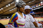 UK, August 6 2012: Venezuela's Angee Gonzalez waits for the start of the Omnium Elimination race in Velodrome on Day 10 of the London 2012 Olympic Games. Copyright 2012 Peter Horrell.