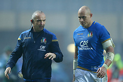 November 25, 2017 - Padova, Italy - Italy coach Conor OShea with the captain Sergio Parisse at Plebiscito Stadium in Padova, Italy on November 25, 2017, during the Rugby test match between Italy v South Africa. (Credit Image: © Matteo Ciambelli/NurPhoto via ZUMA Press)