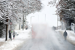 A Stagecoach Single Decker one of the few buses running makes its way up the A6135 Chapeltown Rd  with snow spraying from its roof during the most widespread snowfall to hit Britain for 20 years..1st December 2010.Images © Paul David Drabble