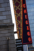 Chicago neon sign on the Cadillac Palace Theatre Chicago, IL.