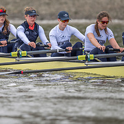 Crews prepare for Sunday's 165th Boat Race between Oxford and Cambridge, River Thames, London, Thursday 4th April 2019.<br /> <br /> © Copyright photo Steve McArthur / @RowingCelebration   www.rowingcelebration.com
