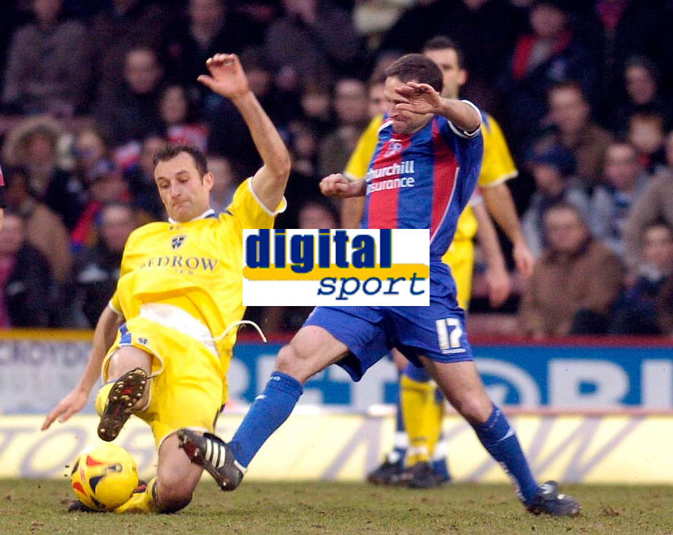 Photo: Alan Crowhurst.<br />Crystal Palace v Cardiff City. Coca Cola Championship. 04/02/2006. <br />Riccardo Scimeca (L) and Michael Hughes of Palace challenge for the ball.