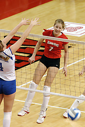 24 November 2006: Mary Catherine Richmond watches her spike go in for a point.during a Quarterfinal match between the Illinois State University Redbirds and the Creighton University Bluejays. The Tournament was held at Redbird Arena on the campus of Illinois State University in Normal Illinois.<br />