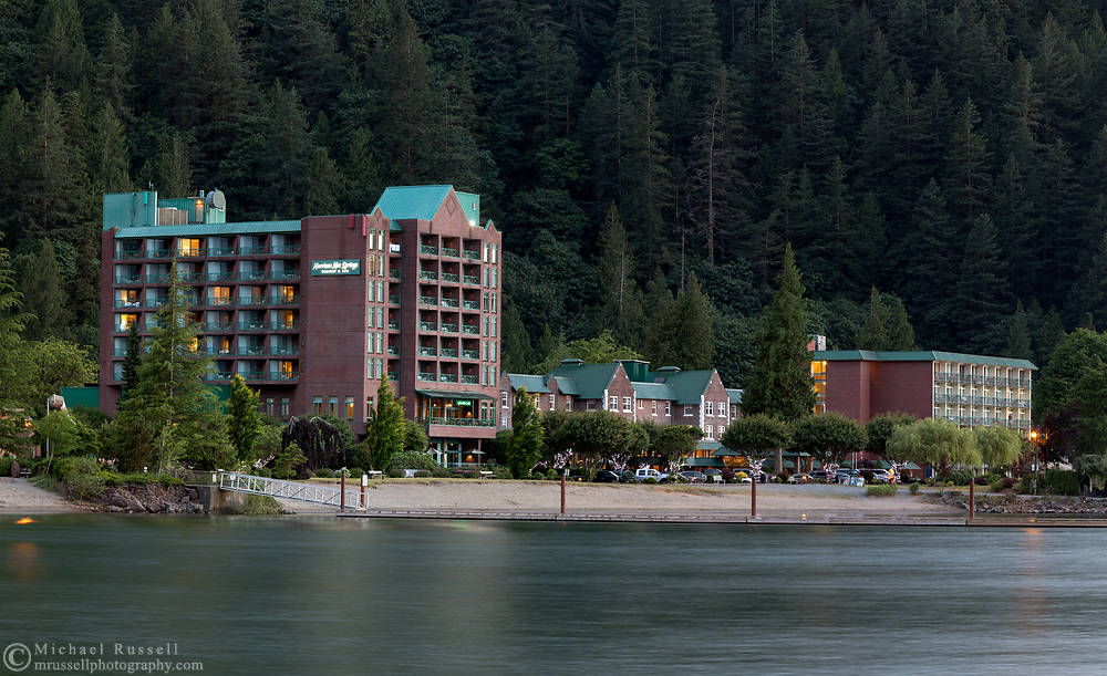 The Harrison Hot Springs Resort in Harrison Hot Springs, British Columbia, Canada.  Photographed in the early evening from the edge of Harrison Lake.
