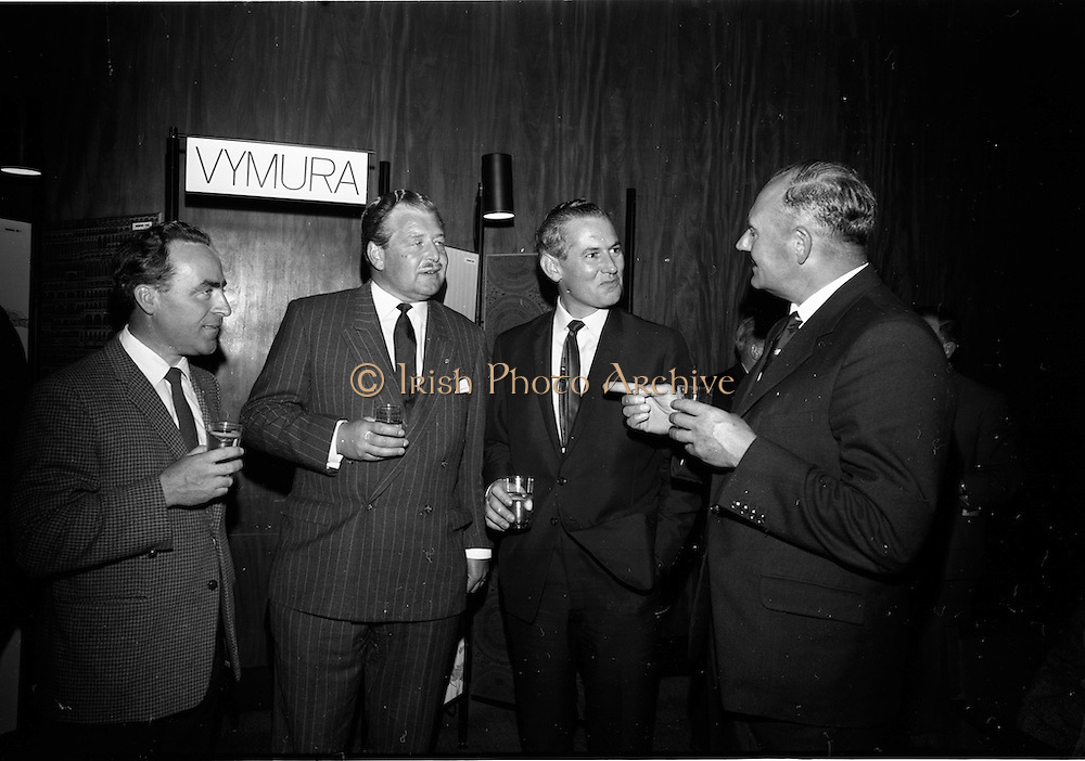 """23/06/1965<br /> 06/23/1965<br /> 23 June 1965<br /> I.C.I. (Imperial Chemical Industries) """"Vymura""""  luxury wall covering (wallpaper?) demonstration at the Intercontinental Hotel, Dublin. Pictured at the event were (l-r) Mr. James J. Connell, architect; Mr. T.P. Casey, Commercial Director I.C.I. (Ireland) Ltd.; Mr. D. McGreevey, Director, Building Centre and Mr. J.S. Watkins, Managing Director I.C.I. (Ireland) Ltd."""